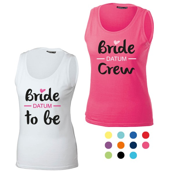 JGA Tanktop mit Motiv Bride to be + Bride Crew