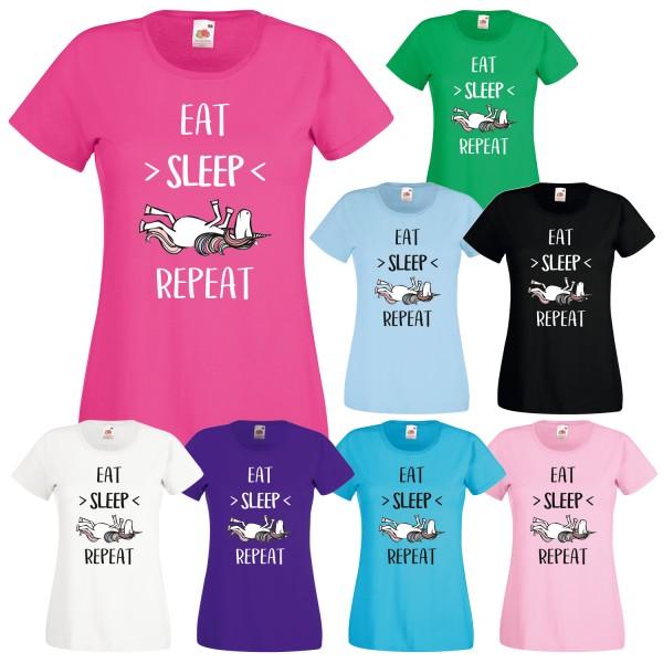 Einhorn Damen T-Shirt Eat Sleep Repeat