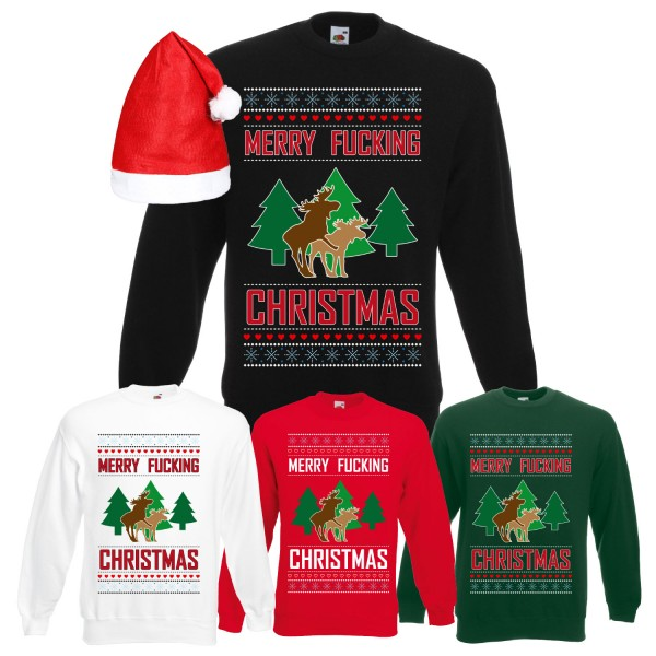 Merry Fucking Christmas Elch Sweatshirt Herren