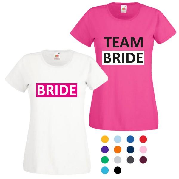 JGA T-Shirt mit Motiv Bride + Team Bride
