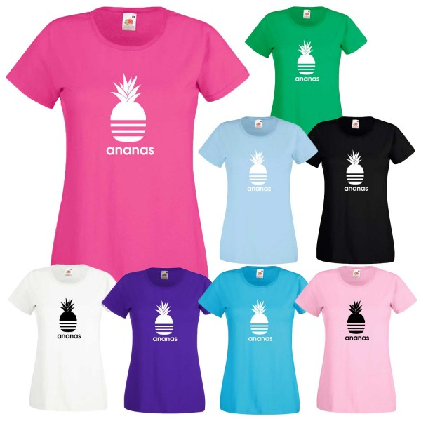 Damen T-Shirt Ananas