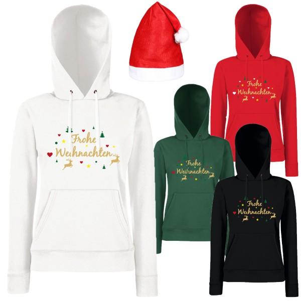 Frohe Weihnachten Rentier Hoodie Damen