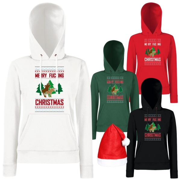 Merry Fucking Christmas Elch Hoodie Damen