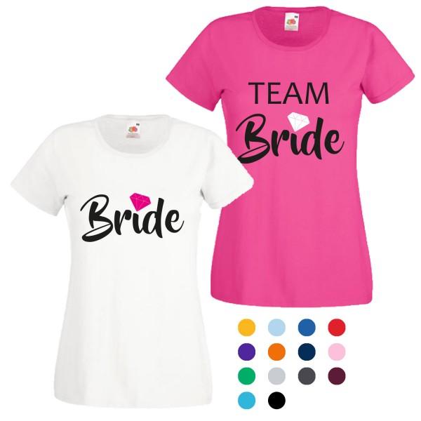 JGA T-Shirt mit Motiv Bride + Team Bride Diamant