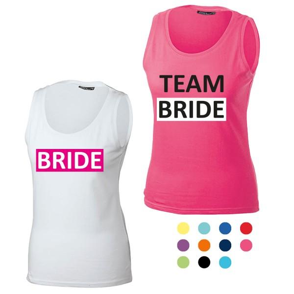 JGA Tanktop mit Motiv Bride + Team Bride