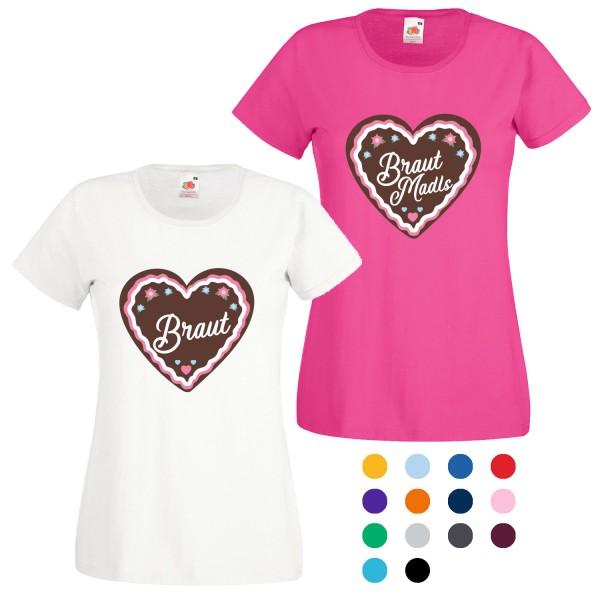 JGA T-Shirt mit Motiv Braut + Braut Madls