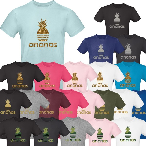 Herren T-Shirt Ananas - Gold Silber Goldglitzer Camouflage