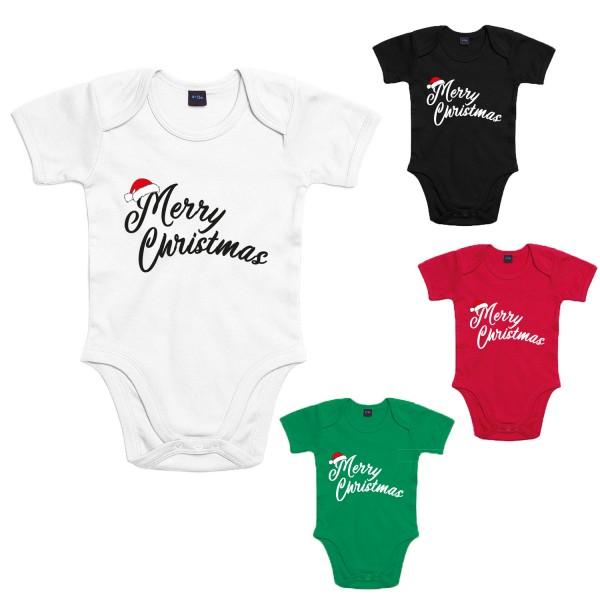 Merry Christmas Mütze Baby-Body Weihnachten Winter Jungen und Mädchen