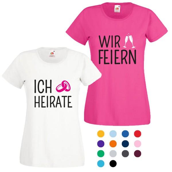 JGA T-Shirt mit Motiv Ich heirate + Wir feiern