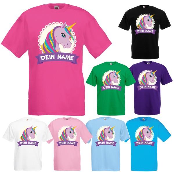 Einhorn Motiv Unisex T-Shirt mit deinem Wunschnamen
