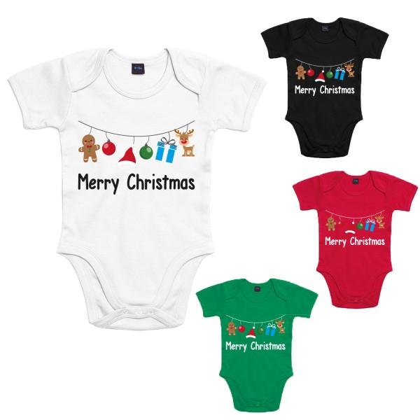 Merry Christmas Baby-Body Winter Jungen und Mädchen