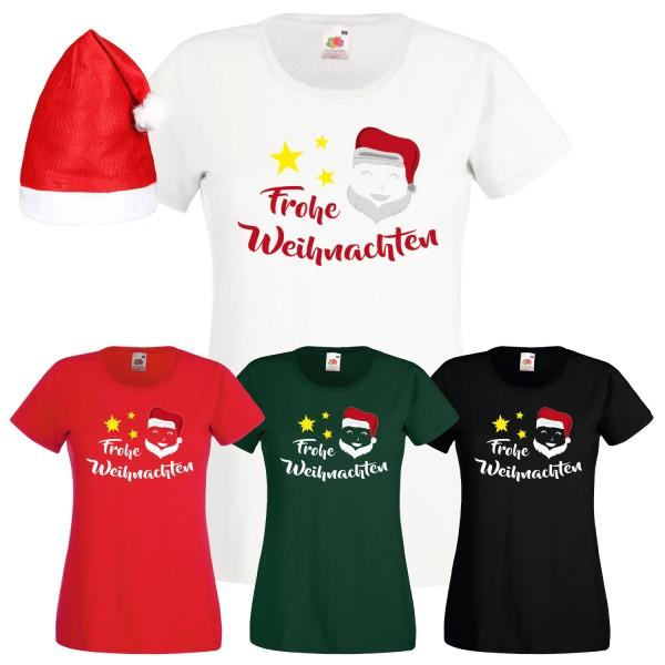 T Shirt Weihnachten.Frohe Weihnachten Weihnachtsmann T Shirt Damen