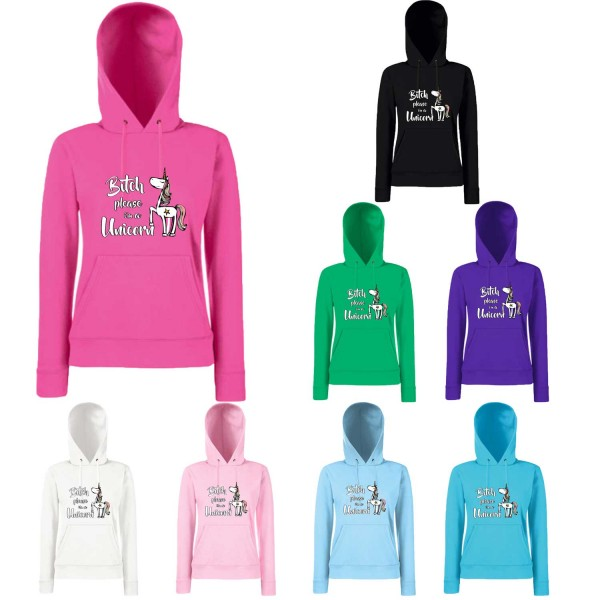 Einhorn Damen Hoodie Bitch please i´m a Unicorn