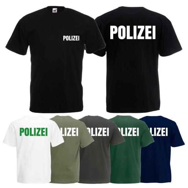 Herren Polizei T-Shirt - Druck Brust & Rücken Reflex
