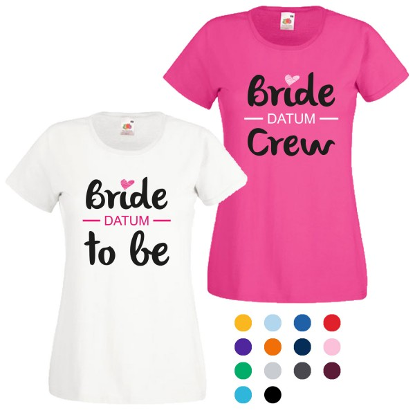 JGA T-Shirt mit Motiv Bride to be + Bride Crew