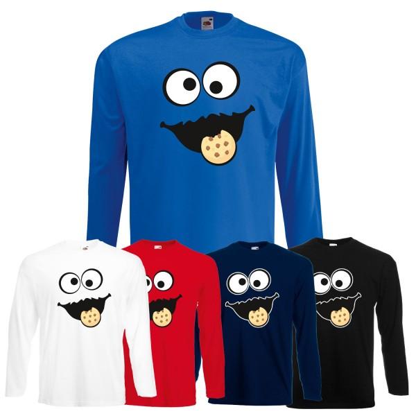Herren Langarm-Shirt Keks Monster