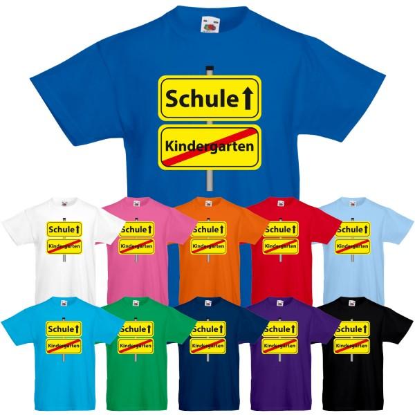 Unisex Kinder T-Shirt Kindergarten Schule Ortsschild
