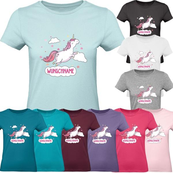 Damen T-Shirt Einhorn Wolke mit Wunschname