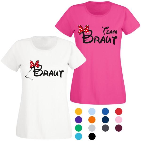 JGA T-Shirt mit Motiv Braut Maus & Team Braut