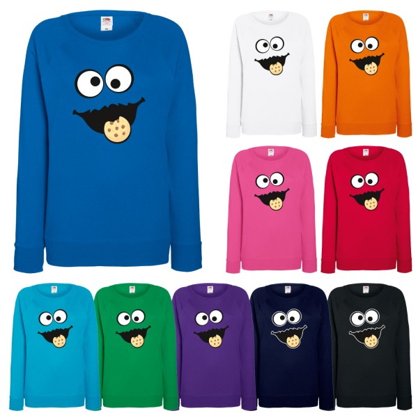 Damen Sweatshirt Keks Monster