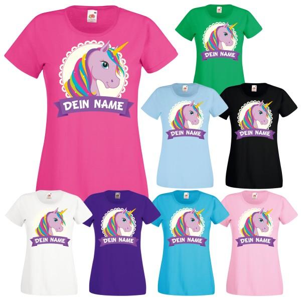 Einhorn Motiv Damen Mädchen T-Shirt mit deinem Wunschnamen
