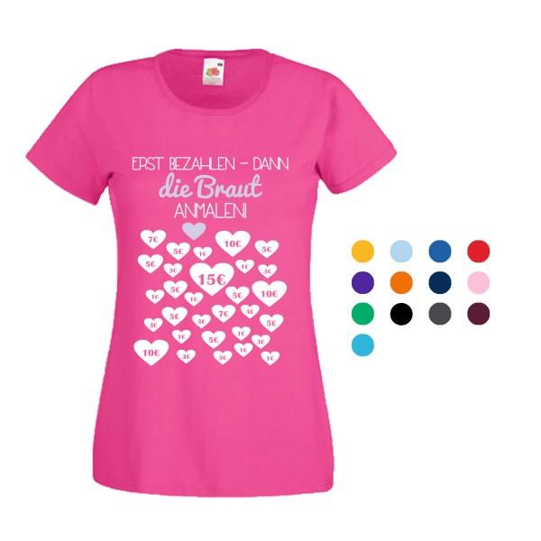 JGA T-Shirt mit Motiv Braut anmalen