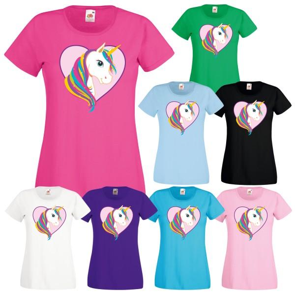 Einhorn Damen T-Shirt Motiv Herz