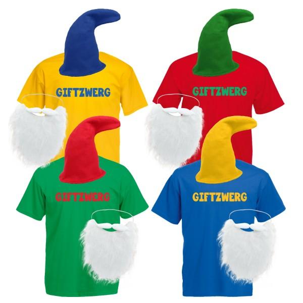 Zwergenkostüm Herren T-Shirt Giftzwerg mit Mütze und Bart