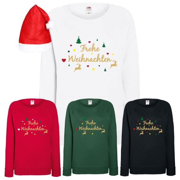 Frohe Weihnachten Rentier Sweatshirt Damen