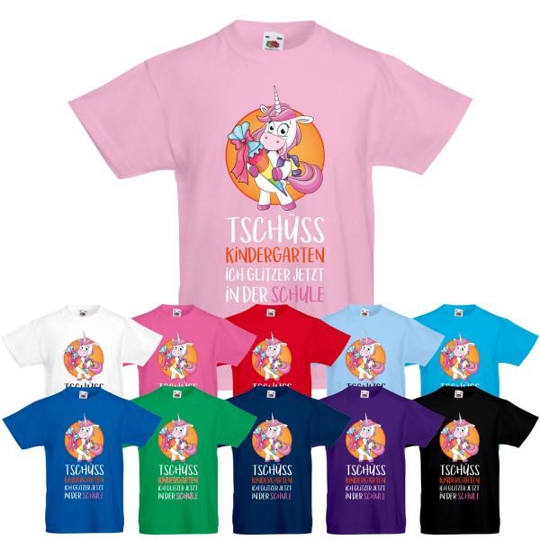 Unisex Kinder T-Shirt Tschüss Kindergarten ich glitzer jetzt in der Schule