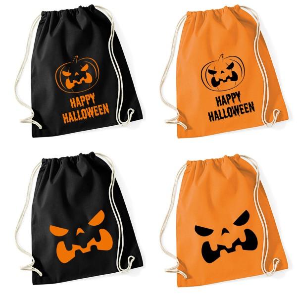 Shirt-Panda Unisex Gymsack Happy Halloween Kürbis Turnbeutel mit Druck
