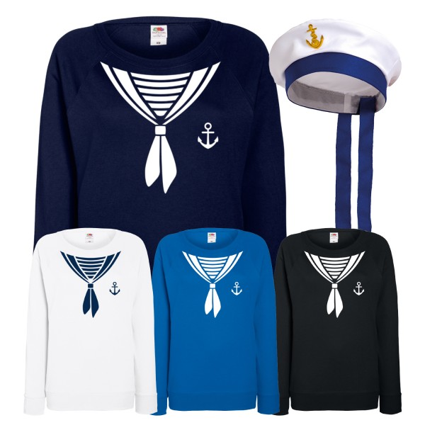 Sweatshirt Kostüm Damen Matrosin mit oder ohne Mütze