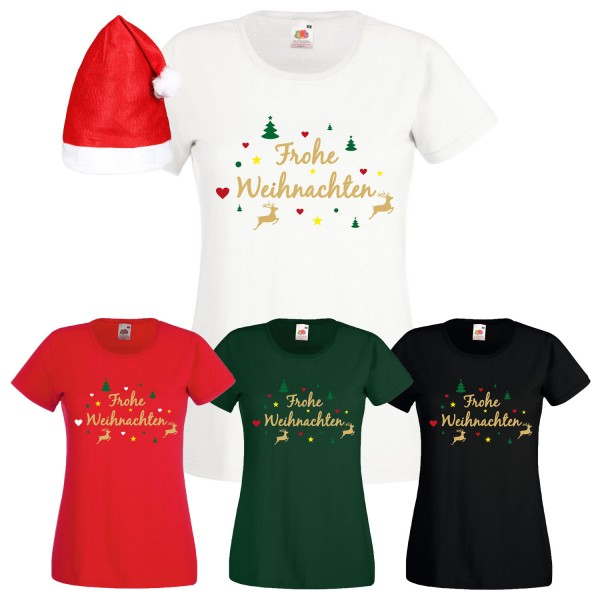 Frohe Weihnachten Rentier T-Shirt Damen