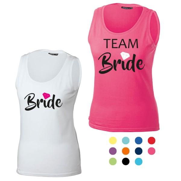 JGA Tanktop mit Motiv Bride + Team Bride Diamant
