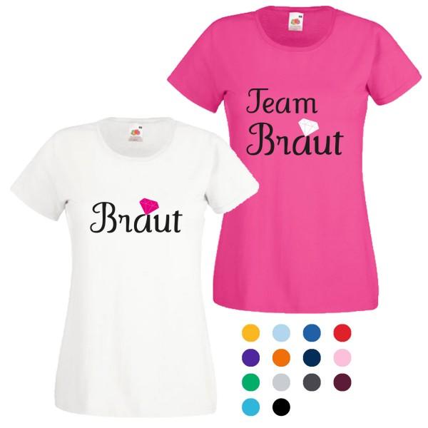 JGA T-Shirt mit Motiv Braut + Team Braut