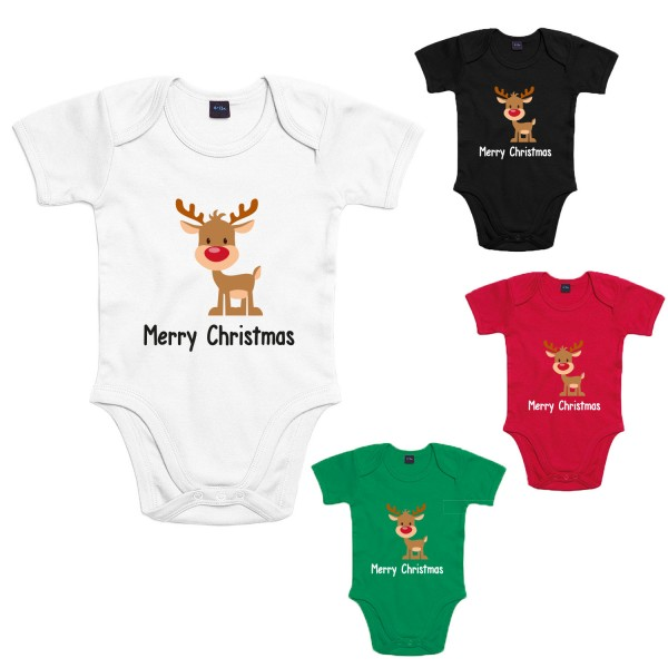 Merry Christmas Rentier Baby-Body Winter Jungen und Mädchen