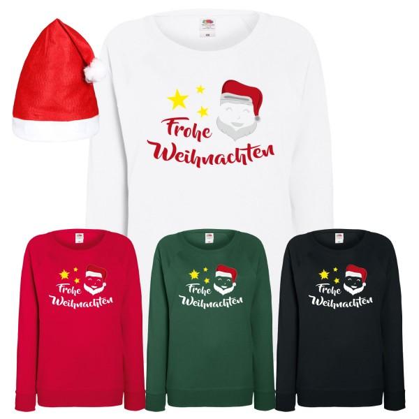 Frohe Weihnachten Weihnachtsmann Sweatshirt Damen