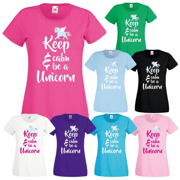 Einhorn Damen T-Shirt Keep Calm Unicorn
