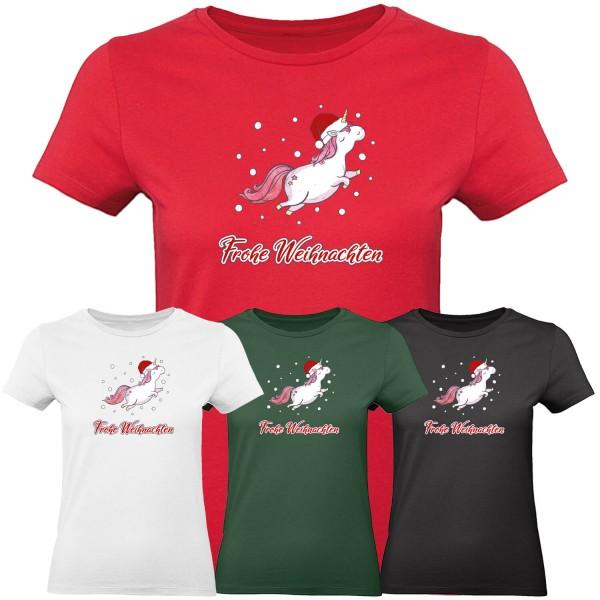 Frohe Weihnachten Einhorn - T-Shirt Damen