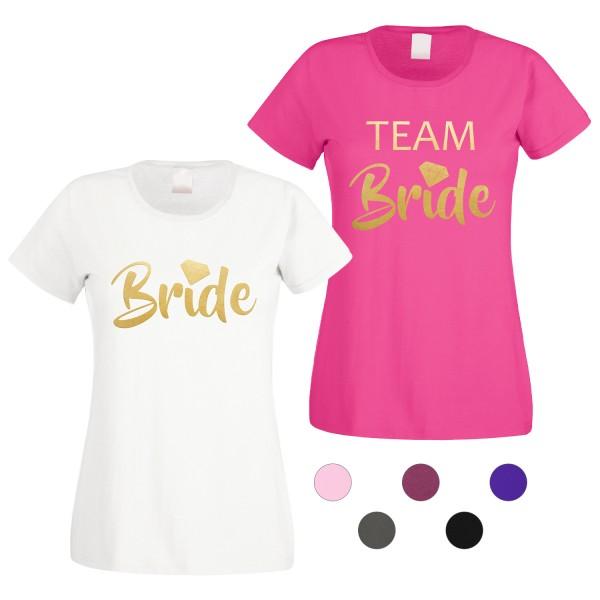 JGA T-Shirt mit Motiv Bride + Team Bride Diamant Gold